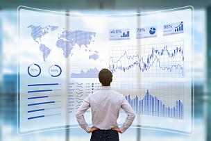 未来,技术,数据,一个人,鸟食盆,全息图,电子邮件,计算机软件,仪表板,股市数据