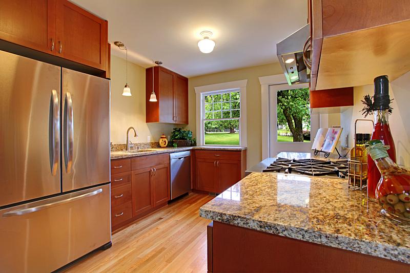 厨房,樱桃,自然美,住宅房间,水平画幅,吧椅,无人,房地产,天花板,冰箱