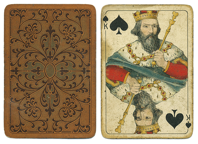 纸牌,古老的,古董,王卡,两个物体,背面视角,图像,黑桃,英国,无人