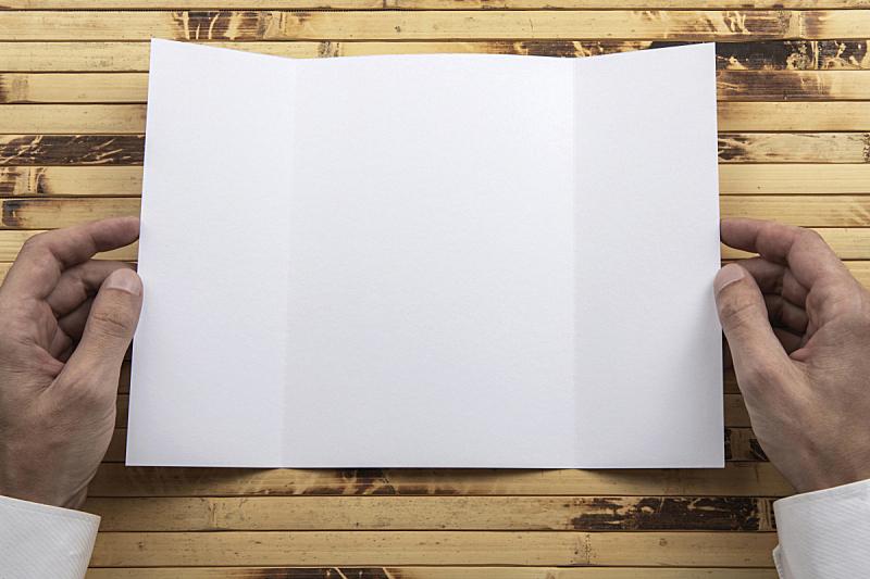 小册子,男人,手,拿着,白色,传媒,商务,菜单,贺卡,空的