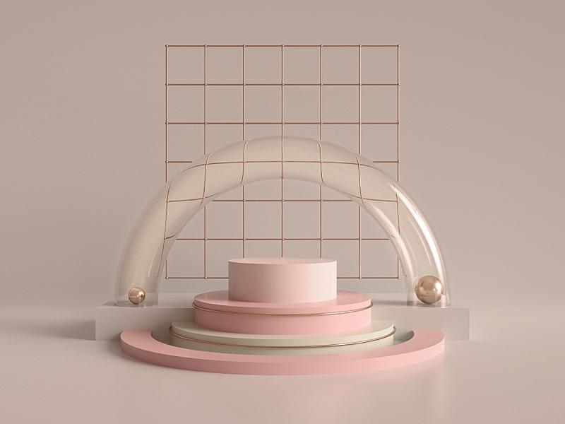 商店,粉色,极简构图,形状,几何形状,空的,空白的,抽象,圆柱体,出示