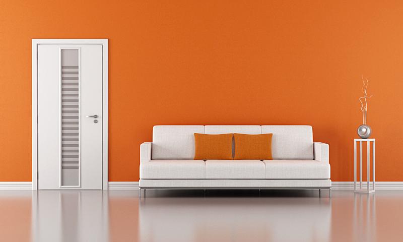 橙色,起居室,水平画幅,墙,无人,玻璃,家具,现代,沙发,白色