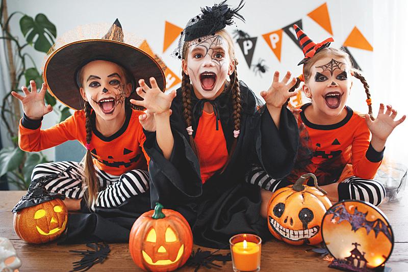 儿童,住宅内部,幸福,南瓜,人群,套装,可爱的,传统,十月