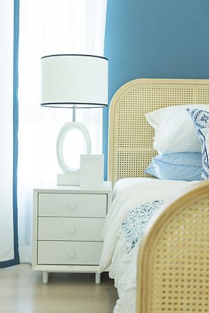 灯,桌子,蓝色,卧室,白色,自然美,墙,扶手椅,舒服,泰国