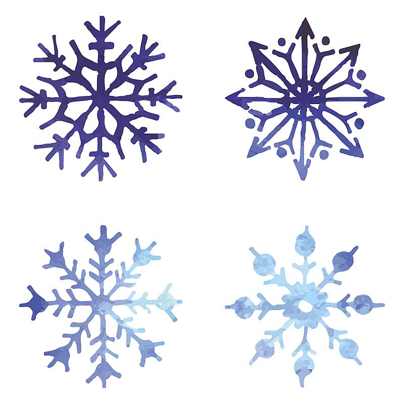 绘画插图,矢量,雪花,水彩颜料,水彩画颜料,四个物体,美,贺卡