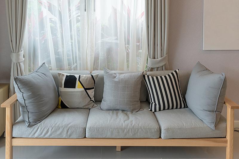 沙发,现代,起居室,木制,窗帘,华贵,舒服,边框,椅子,装饰物