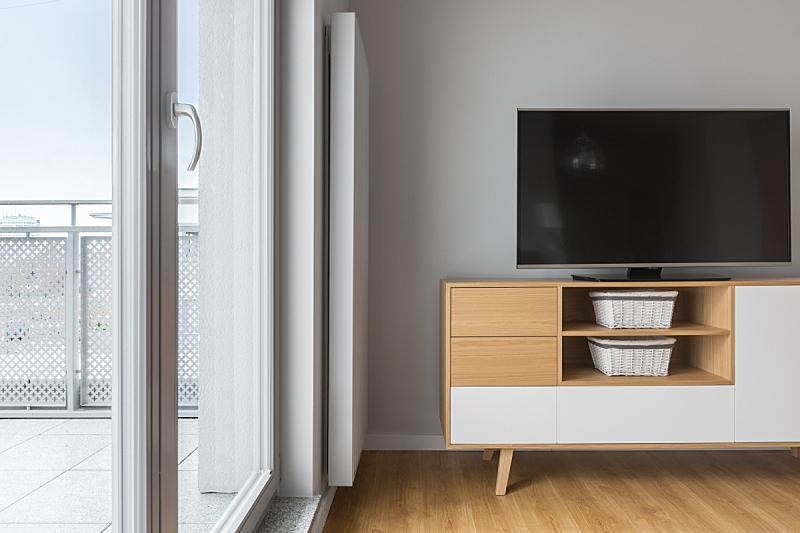 阳台,起居室,电视机,门板,留白,新的,灵感,水平画幅,墙,无人