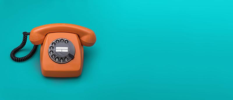 电话机,办公室,留白,水平画幅,橙色,蓝色,全景,古典式,it技术支持,绿松石色