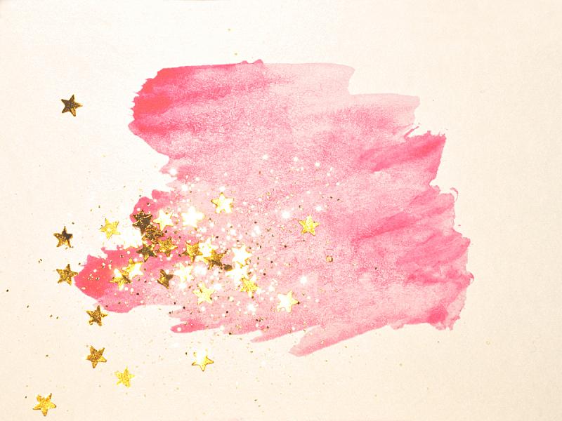 星形,闪亮的,黄金,粉色,抽象,水彩画,水彩画颜料,表现主义,现代,玷污的