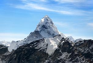 珠穆朗玛峰,阿马达布朗峰,大本营,通勤者,山顶,山脉,坤布,山,岩石,天空