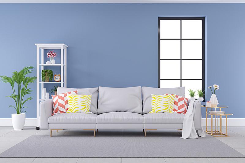沙发,蓝色,概念,极简构图,白色,彩色图片,墙,彩色蜡笔,室内设计师,自卫