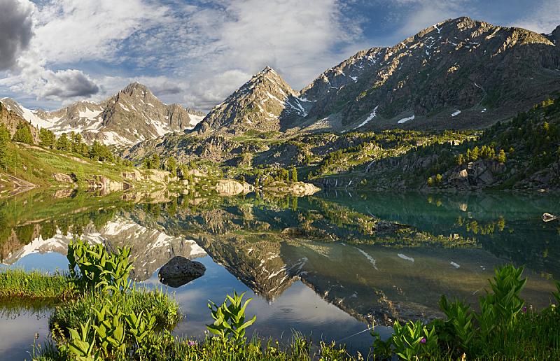 湖,山,冰碛,卡斯基德山脉,水,天空,洛矶山脉,雪,早晨,夏天