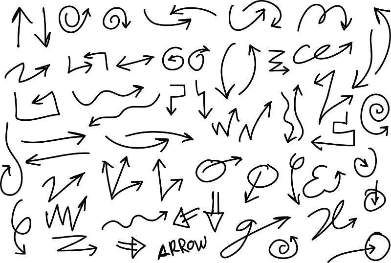 铅笔画,箭头符号,手,矢量,不完全的,草图,潦草,铅笔,乱画,水笔