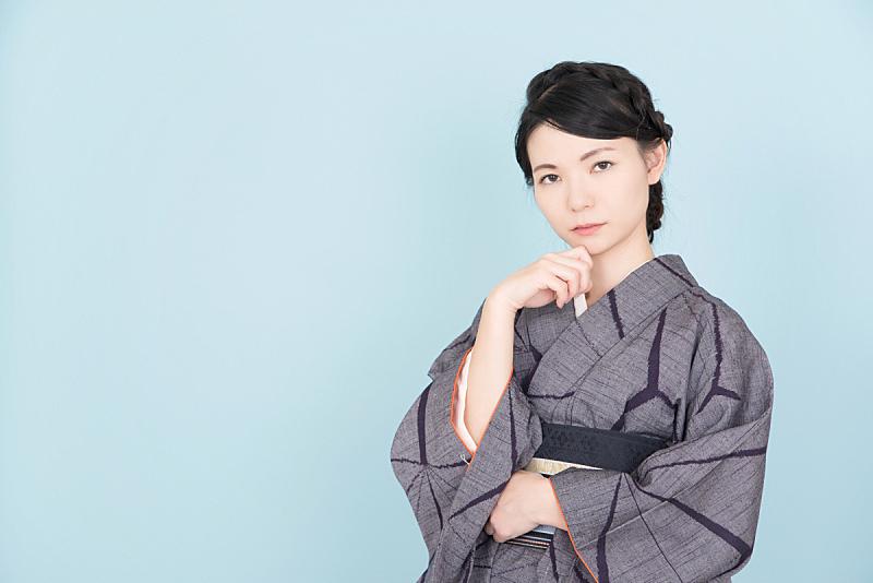 传统,和服,女人,传统服装,日本人,衣服,可爱的,仅日本人,彩色背景,肖像
