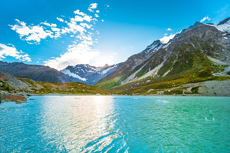 绿色,自然,草,山,雪,湖,修改系列,库克山国家公园,自然美,日落