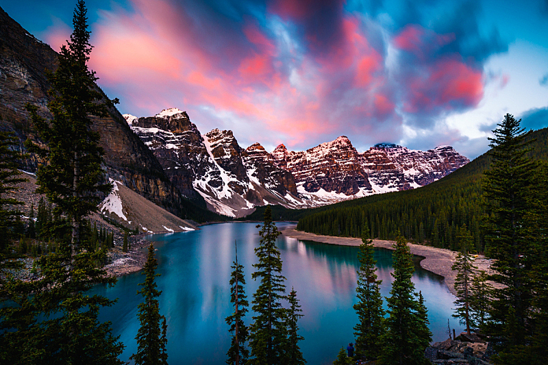 阿尔伯塔省,班夫,梦莲湖,加拿大,天空,旅行者,夏天,美洲,湖,著名景点