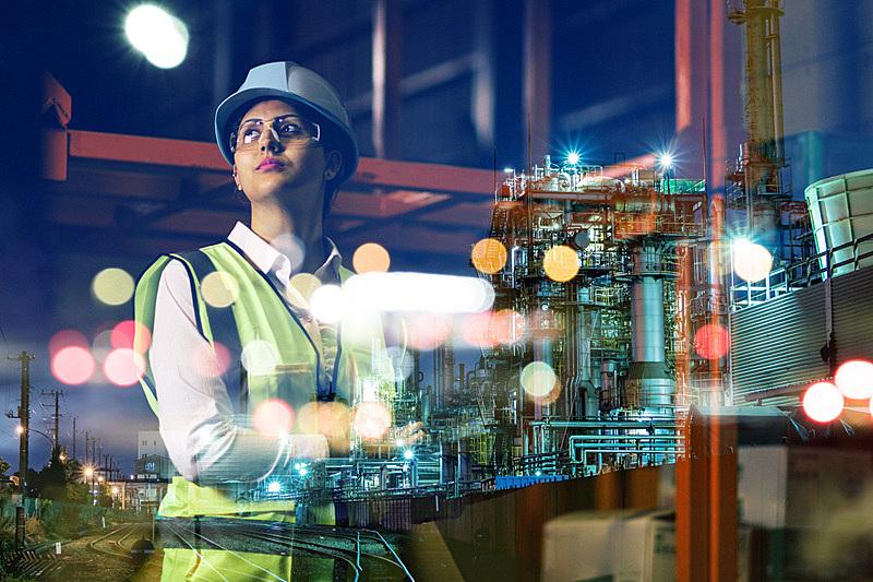 工业,技术,女人,概念,工厂,建筑外部,未来,智慧,经理