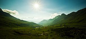 山,黎明,山口,地形,意大利,多洛米蒂山脉,阿尔卑斯山脉,路,蜿蜒,天空