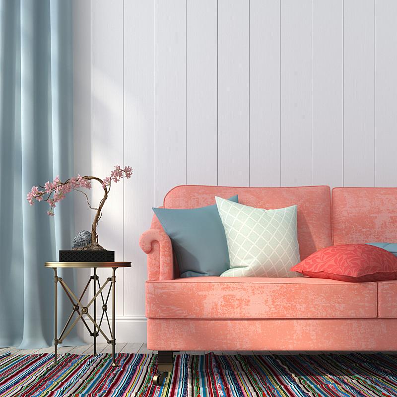 沙发,金属,桌子,三文鱼,枕头,装饰物,粉色,起居室,住宅内部,窗帘