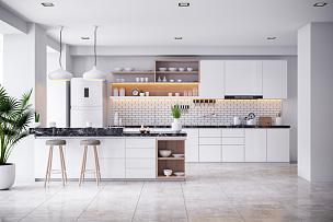 现代,厨房,室内,住宅房间,白色,舒服,杯,食品,泰国,椅子