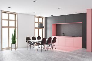 厨房,桌子,角落,白色,长的,粉色,吧椅,空的,华贵,舒服