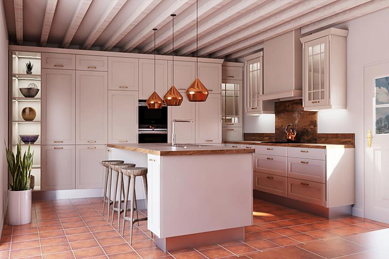 夜晚,白色,三维图形,厨房,照明设备,饭厅,新的,水平画幅,无人,家具