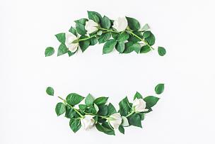 白色,花环,玫瑰,平铺,视角,爱沙尼亚,花蕾,叶子,花纹,周年纪念