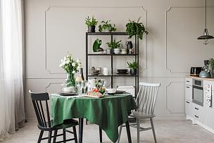 灰色,厨房,公寓,高雅,早餐,桌子,食品,椅子,复古风格,餐具