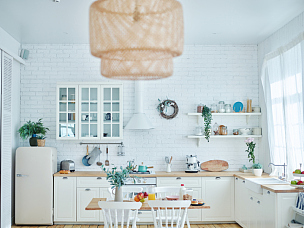厨房,白色,早餐,舒服,家具,砖墙,广角拍摄,明亮,餐桌,上菜