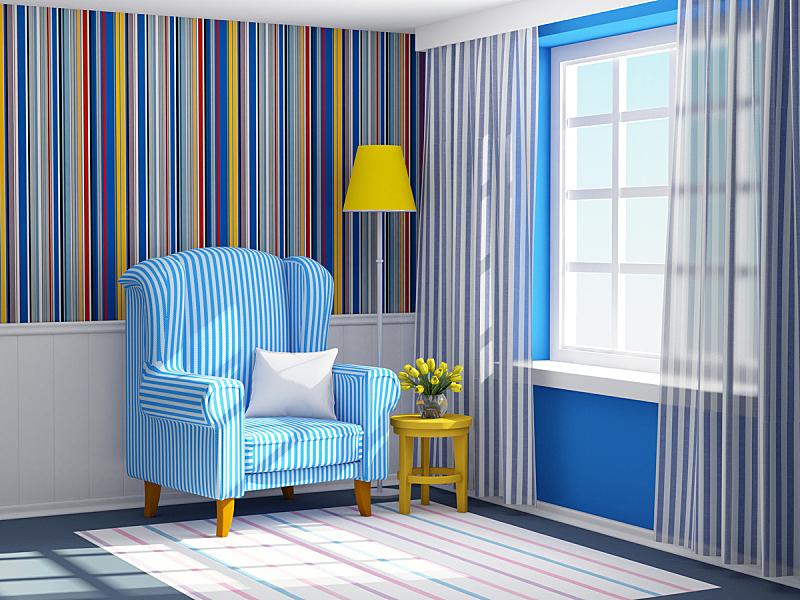 条纹,扶手椅,蓝色,室内,座位,水平画幅,纺织品,无人,椅子,灯