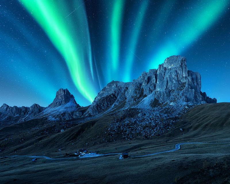 山脊,极光,北极光,岩石,星系,欧洲,建筑外部,山,地形,旅行
