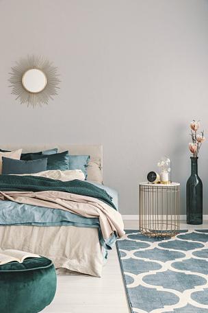 床上用品,瓶子,鲜绿色,高雅,花瓶,室内,米色,卧室,时髦的,满意