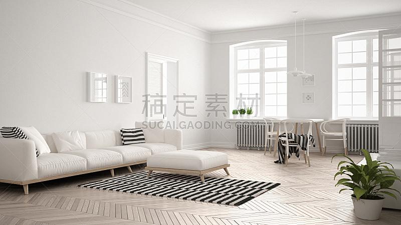斯堪的纳维亚人,白色,起居室,极简构图,沙发,明亮,室内设计师,餐桌,跪垫,顶楼公寓