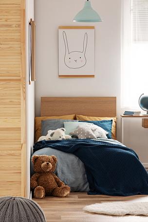 可爱的,泰迪熊,儿童,高雅,室内,卧室,褐色,硬木地板,舒服,软垫