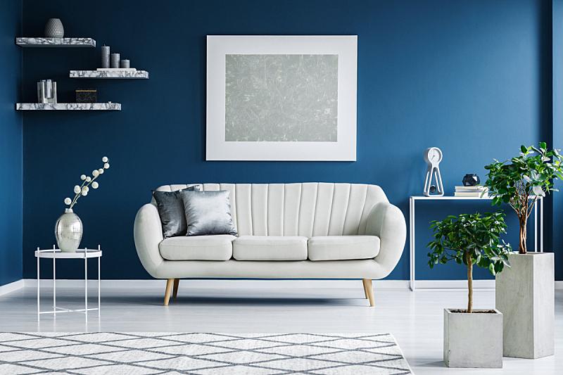 白色,蓝色,起居室,正面视角,水平画幅,银色,无人,架子,家具,金属