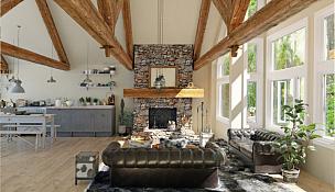 华贵,现代,房屋,室内,地板,复古风格,沙发,装饰物,豪宅,窗户