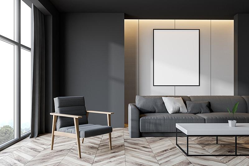 起居室,灰色,白色,空的,扶手椅,华贵,舒服,沙发,现代