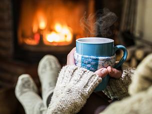 热饮,杯,舒服,壁炉,美,边框,水平画幅,袜子,饮料