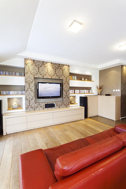 现代,室内,高清晰度电视,垂直画幅,褐色,新的,无人,家庭生活,天花板,灯