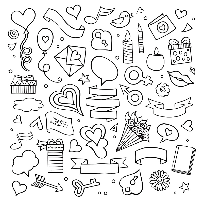 Set of love doodle icons
