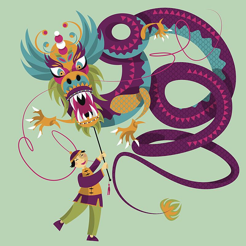 春节,龙,俱乐部,狮子舞蹈,护身符,贺卡,东亚人,蛇,狮子,人种