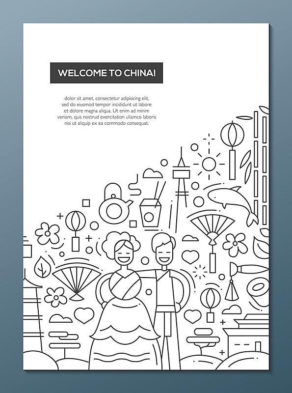 线条,模板,中国,海报,小册子,欢迎标志,麦克唐纳·道格拉斯f-4,旅途,事件,部分