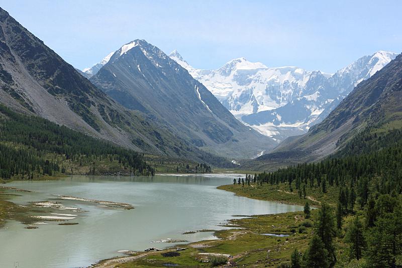 山脊,湖,山,俄罗斯,环境,云,雪,水面,池塘,河流
