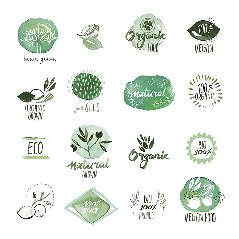 有机食品,标签,证章,水彩画,动物手,水彩颜料,环境保护,蔬菜,水彩画颜料,无谷蛋白