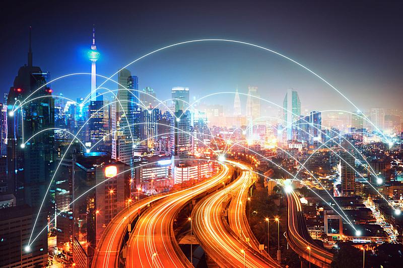 现代,城市天际线,纤维光学,马来西亚,计算机网络,数码合成,原子,城市,摩天大楼