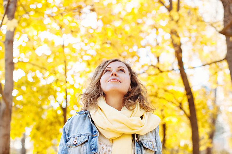 秋天,公园,围巾,非都市风光,向上看,女人头巾,动机,森林,灵感