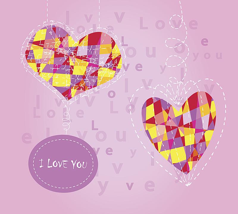 粉色背景,镶嵌图案,心型,我爱你,一见钟情,坠入爱河,图像技术,可爱的,纸牌,贺卡