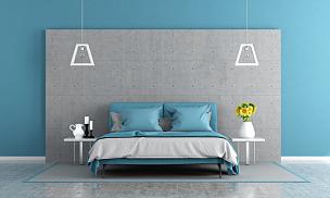 灰色,蓝色,主卧室,水平画幅,墙,无人,地毯,灯,家具,床头柜