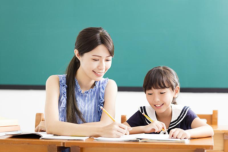 教师,教室,儿童,家庭作业,小学,中国人,中国,露齿笑,笔记本,黑板