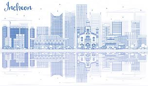 仁川,城市天际线,轮廓,建筑外部,蓝色,无人,亚洲,矢量,美术工艺,背景